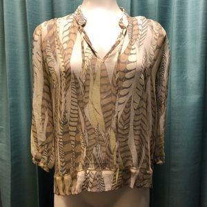 Club Monaco | Feather print blouse | Sheer | XS